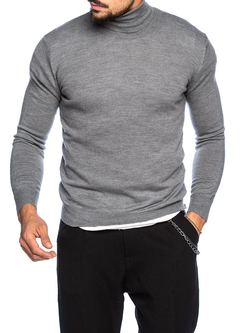 KOROS ROLLNECK SWEATER IN LIGHT GREY