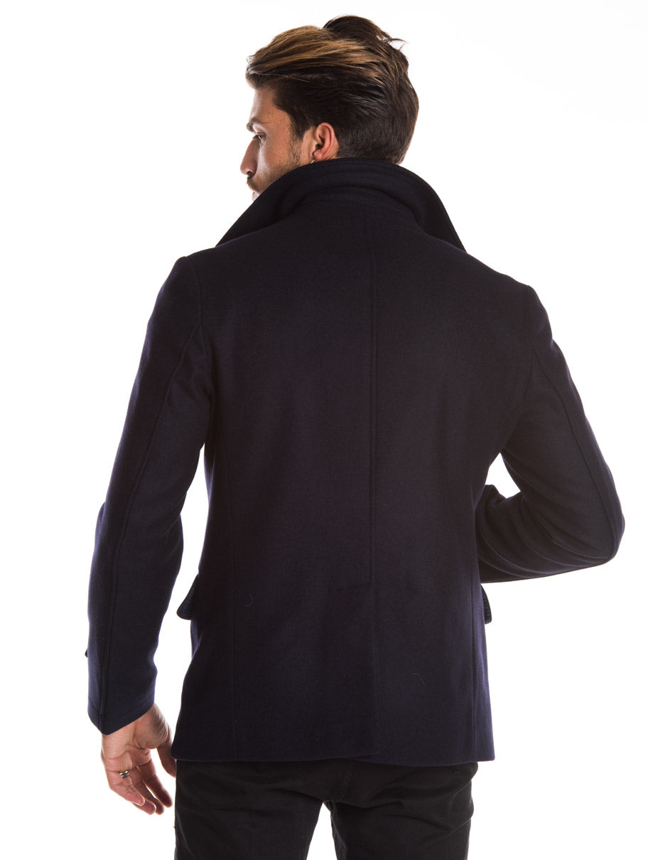 MEN'S CLOTHING | AHAB PEACOAT IN NAVY | DOUBLE-BREASTED | SLIM FIT | HIP LENGTH | NOHOW STREET COUTURE