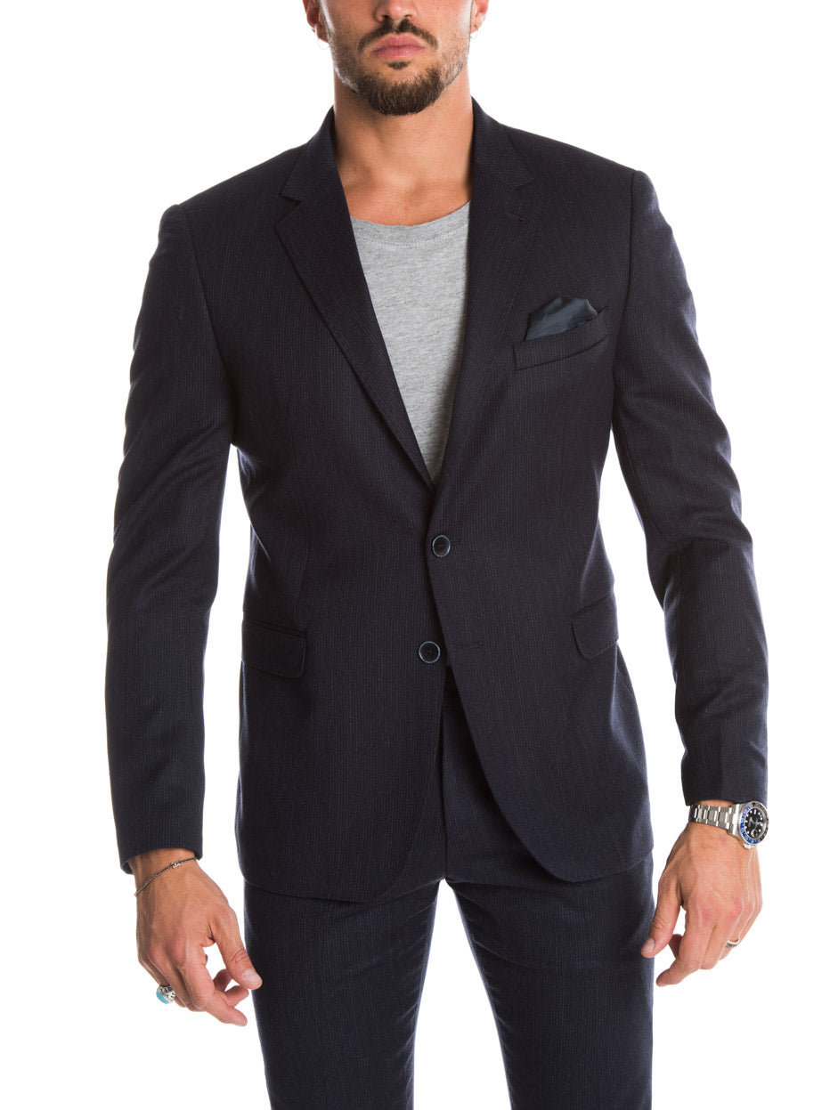 MEN'S CLOTHING | JACOB BLAZER IN BLUE PINSTRIPE | NOHOW STREET COUTURE