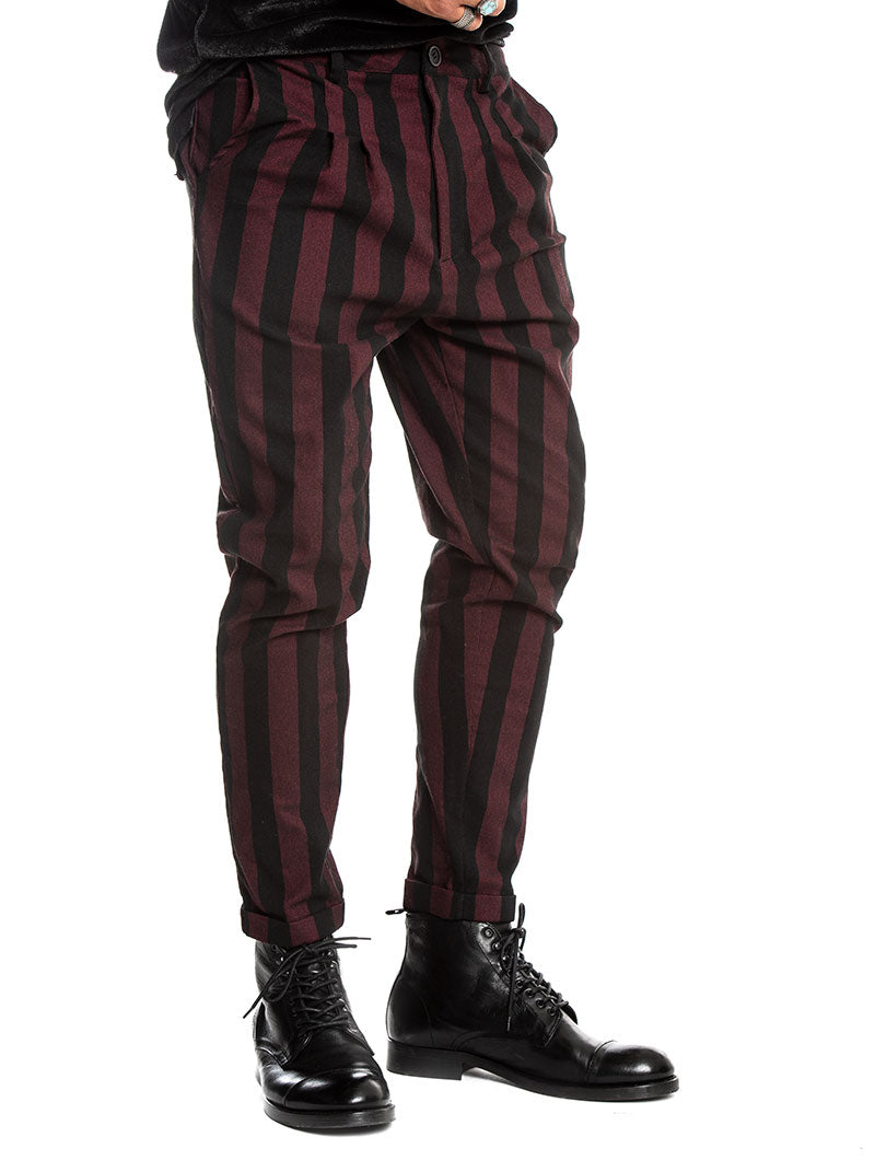 ASYLUM PANTS IN BLACK AND BORDEAUX