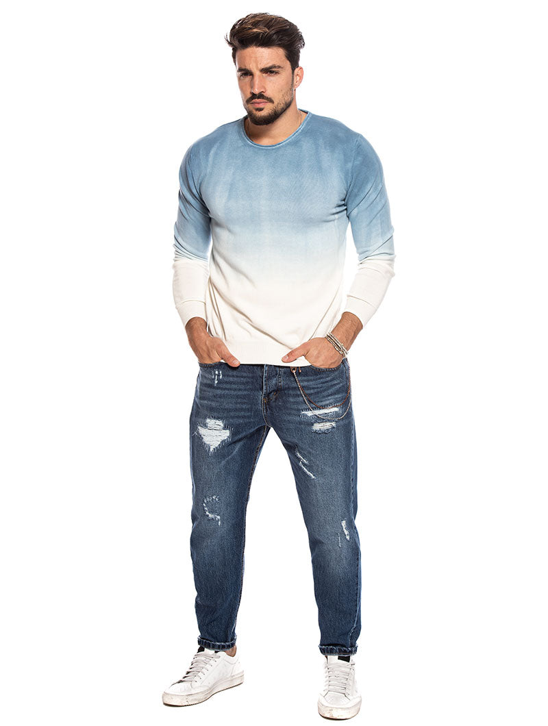 TARAN CREWNECK SWEATER IN INDIGO