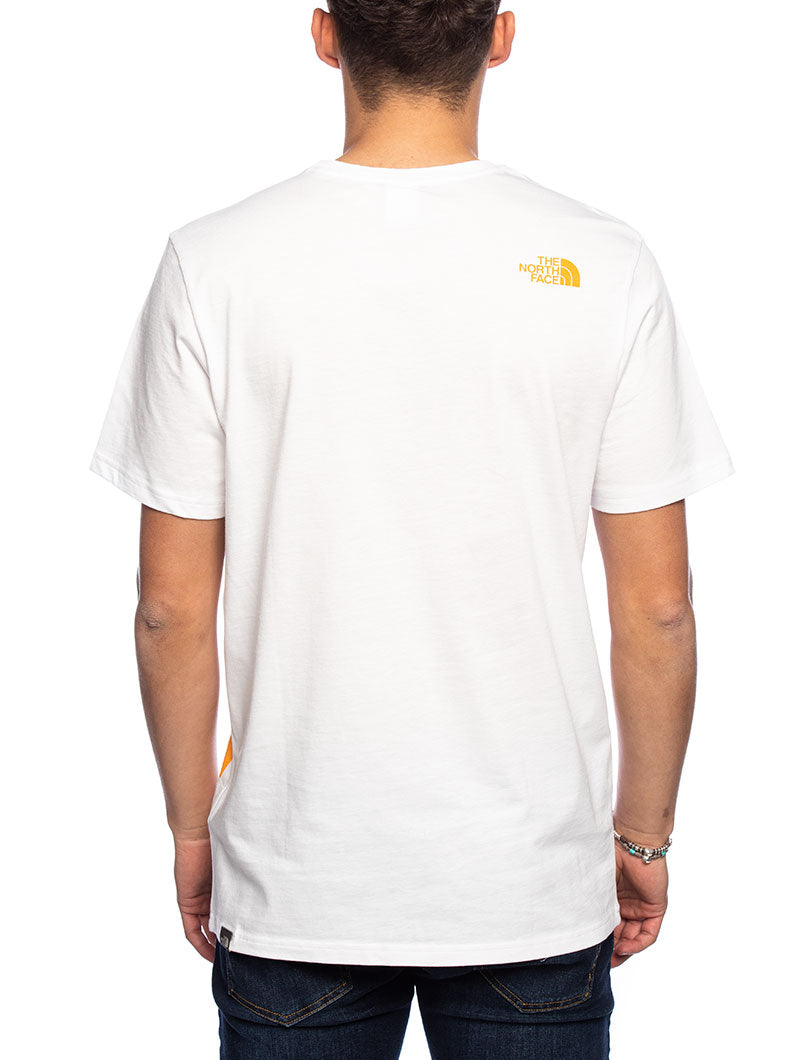 SS GRAPHIC FLOW T-SHIRT IN WHITE AND ORANGE