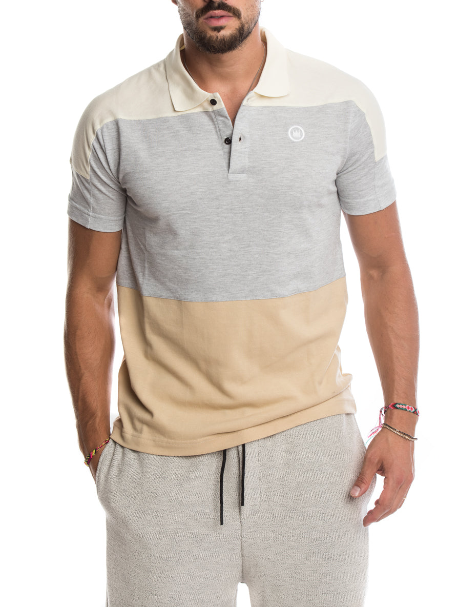 EDWARD COTTON POLO IN BEIGE, PEARL AND WHITE