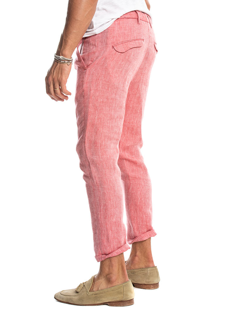 KUVERT LINEN FORMAL PANTS IN CORAL