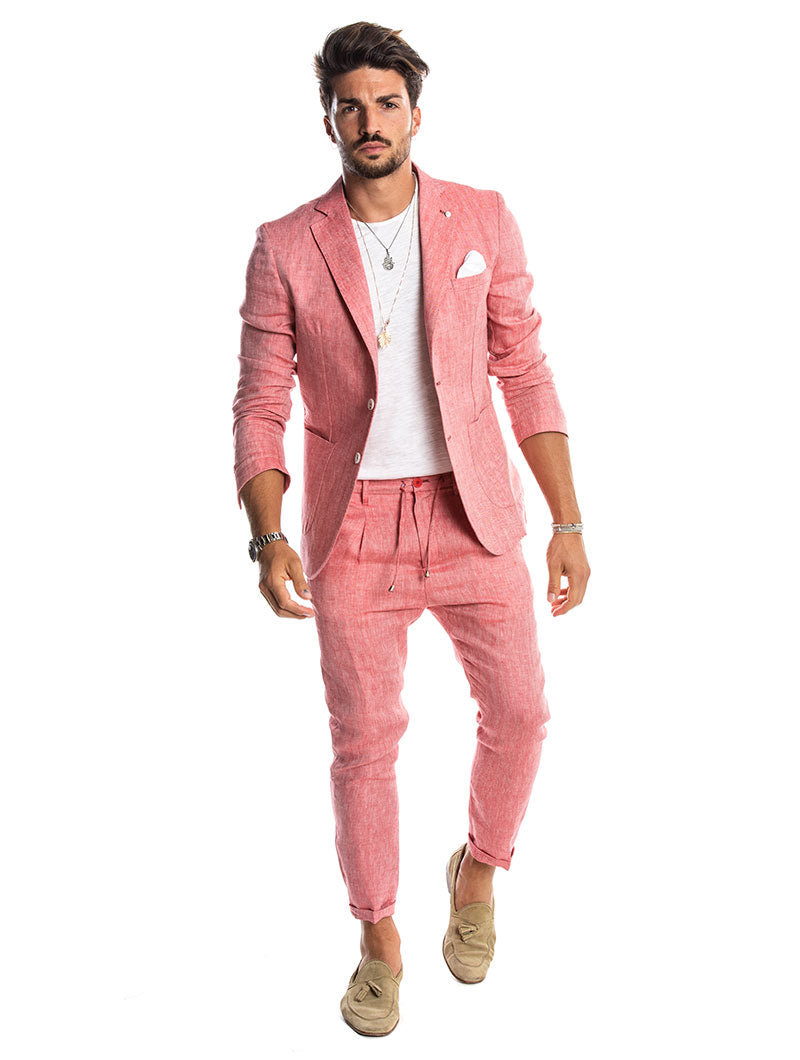 KUVERT LINEN SUIT IN CORAL