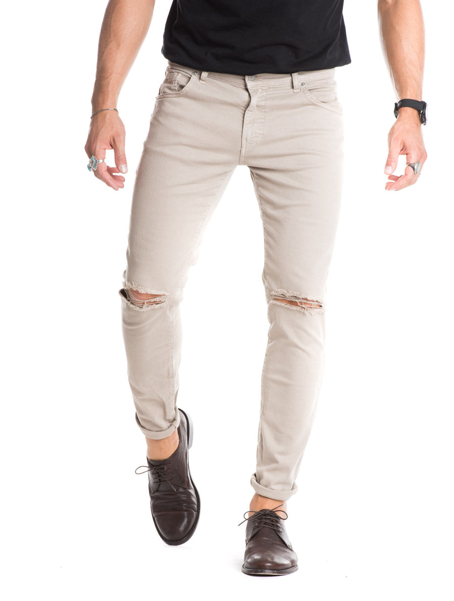 MEN'S CLOTHING | BIGE RIPPED JEANS | DESTROYED | DISTRESSED | SKINNY | NOHOW