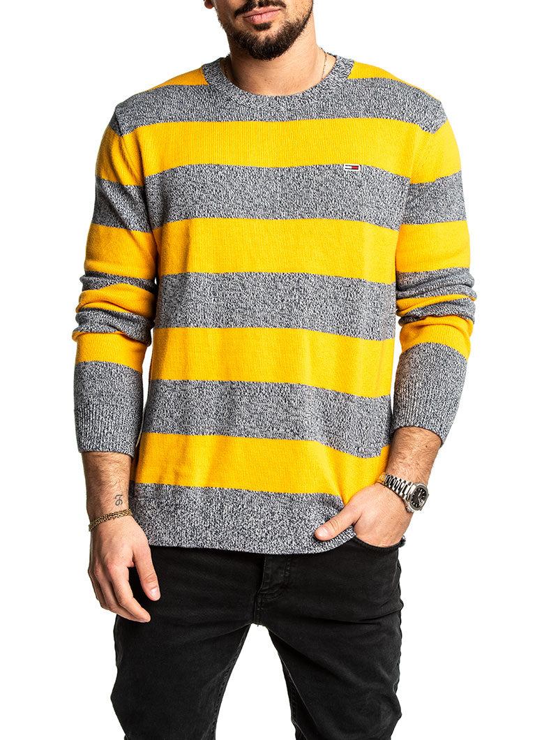 TJM RUGBY STRIPE SWEATER IN RADIANT YELLOW