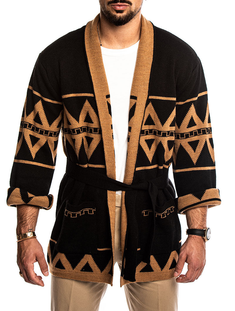 AJAY CARDIGAN IN BLACK AND CAMEL