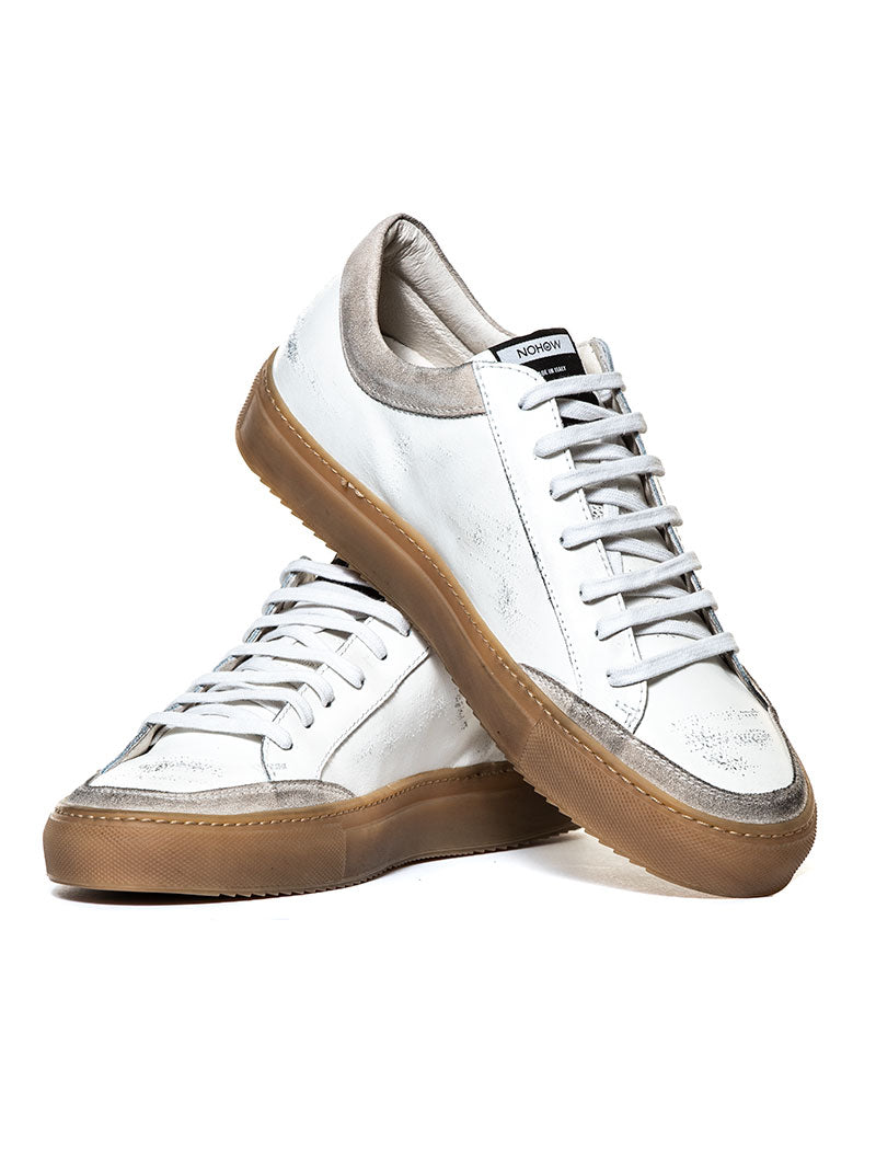 009 SNEAKER IN WHITE AND BEIGE GUM