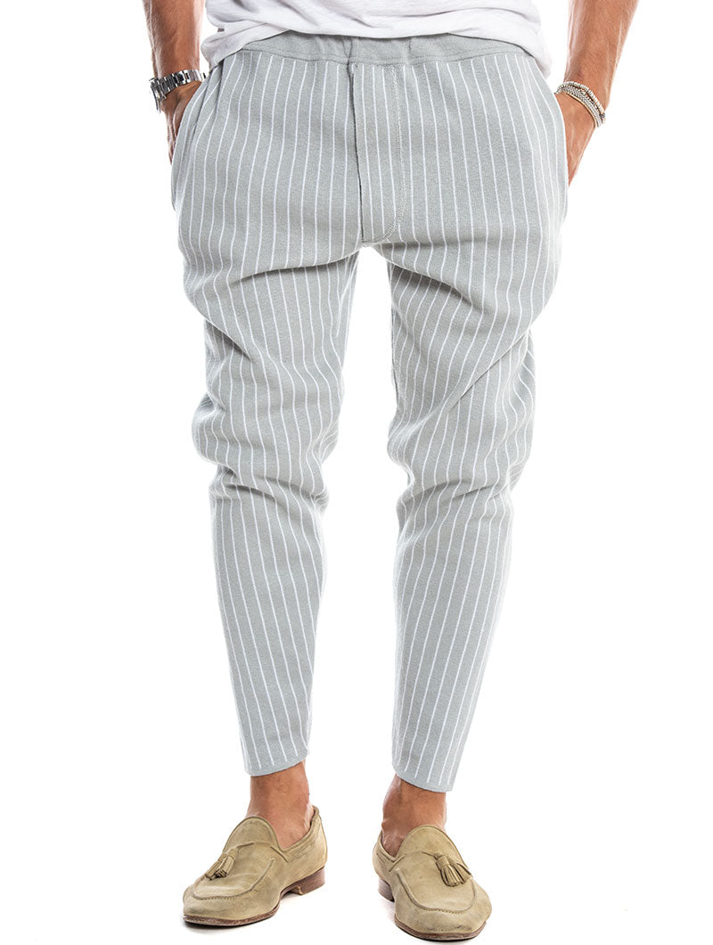 SABURO CROPPED PANTS IN GREY AND WHITE