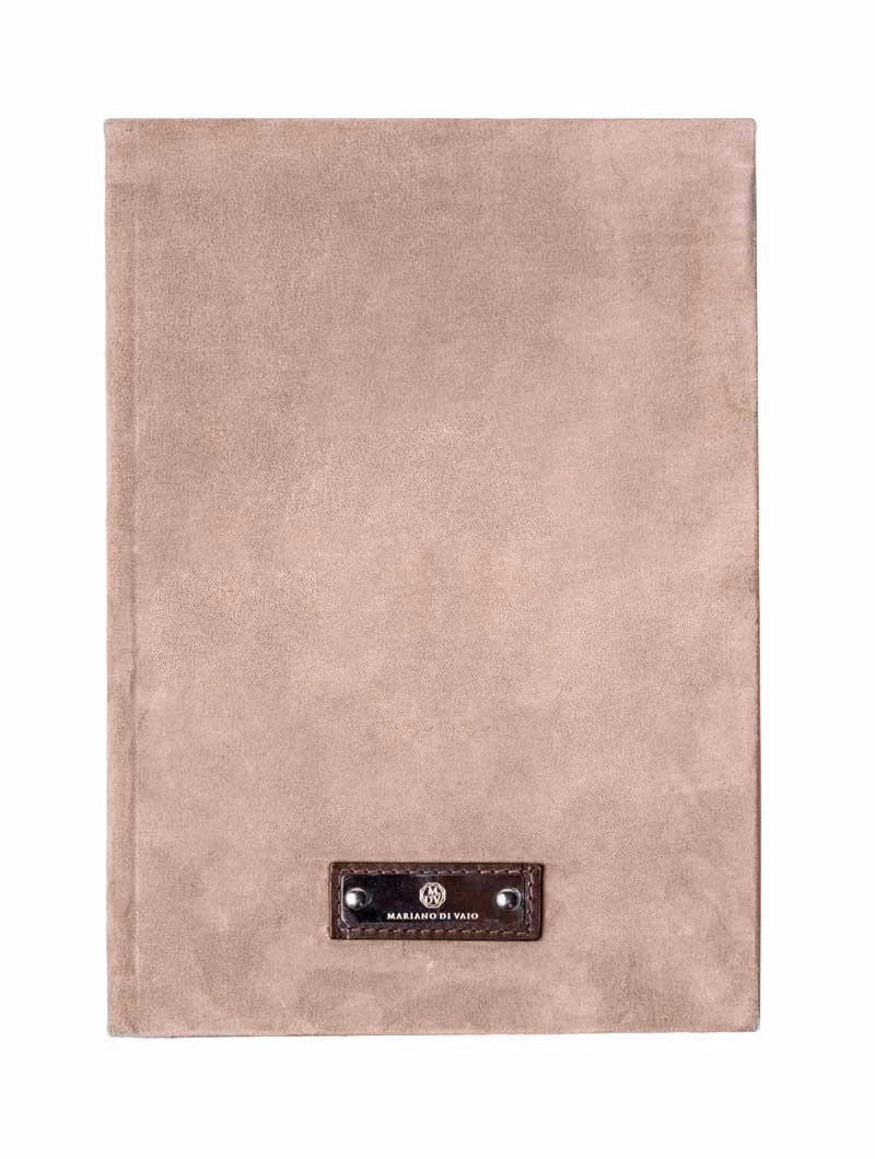 BEIGE SUEDE LINED LARGE NOTEBOOK