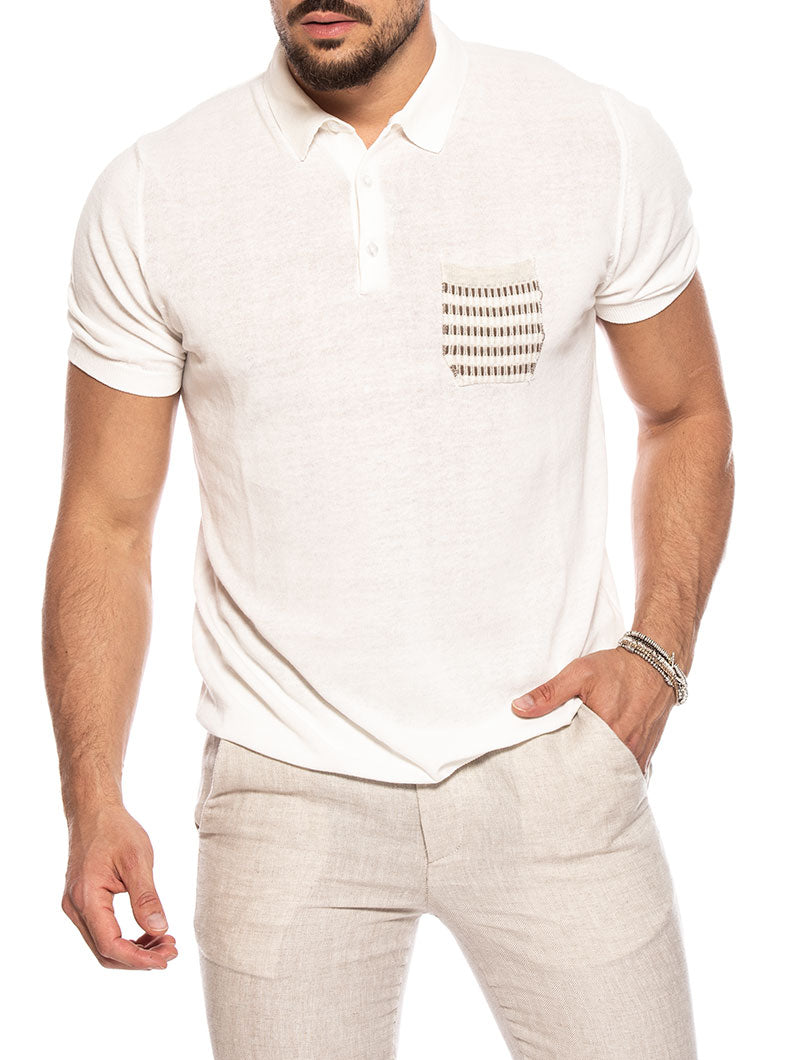 KORVAL POCKET POLO IN WHITE