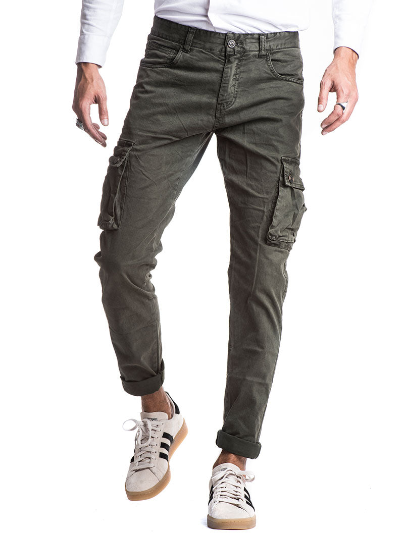 MEN'S CLOTHING | COMBAT TROUSERS IN MILITARY GREEN | CARGO PANTS | COTTON | NOHOW