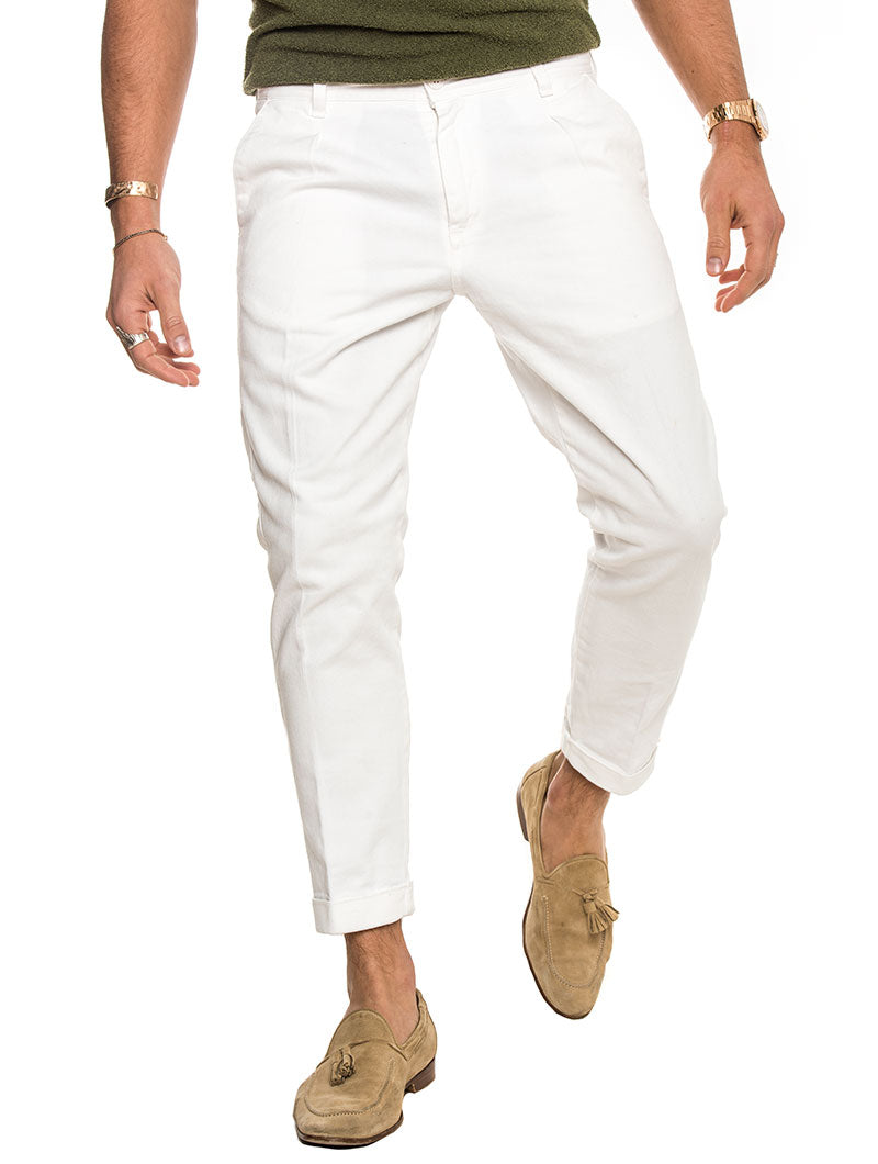 AMIR COTTON TROUSERS IN WHITE