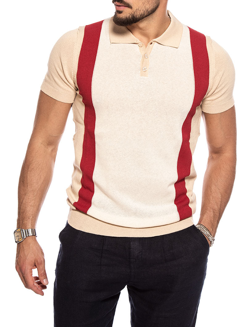 SILKO POLO SHIRT IN WHITE AND RED