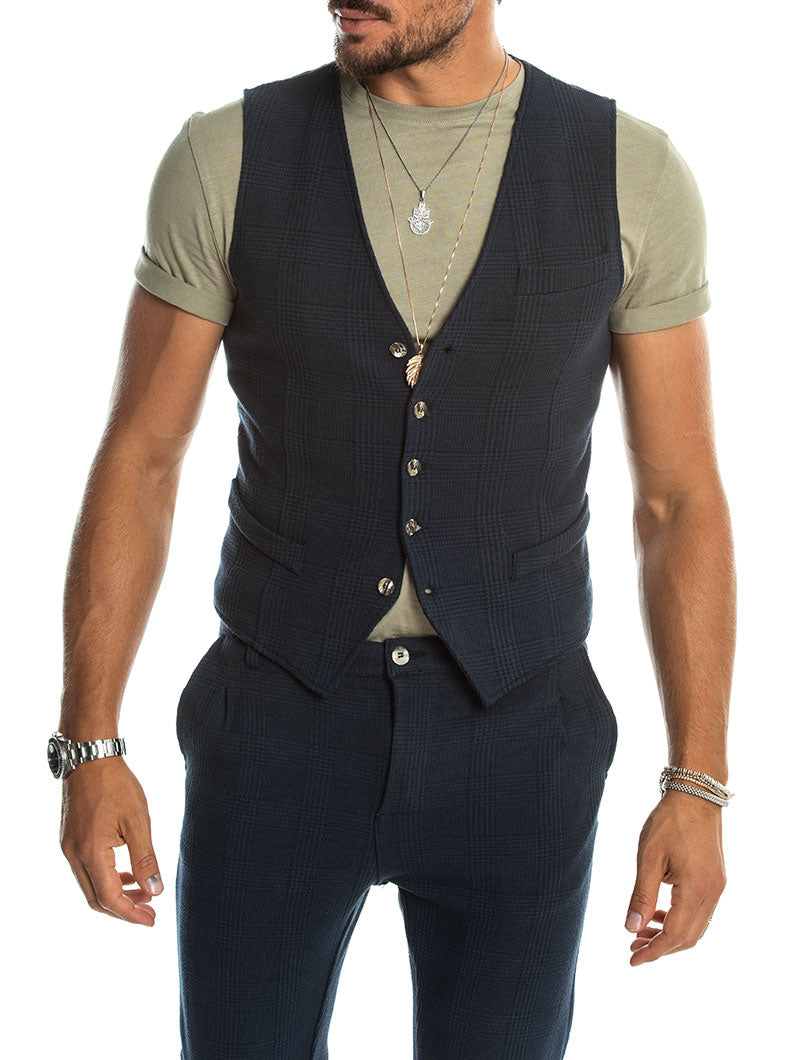 BERNY SQUARED VEST IN BLUE NAVY