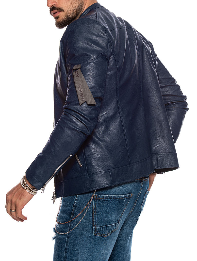 TREY ECO-LEATHER JACKET IN BLUE