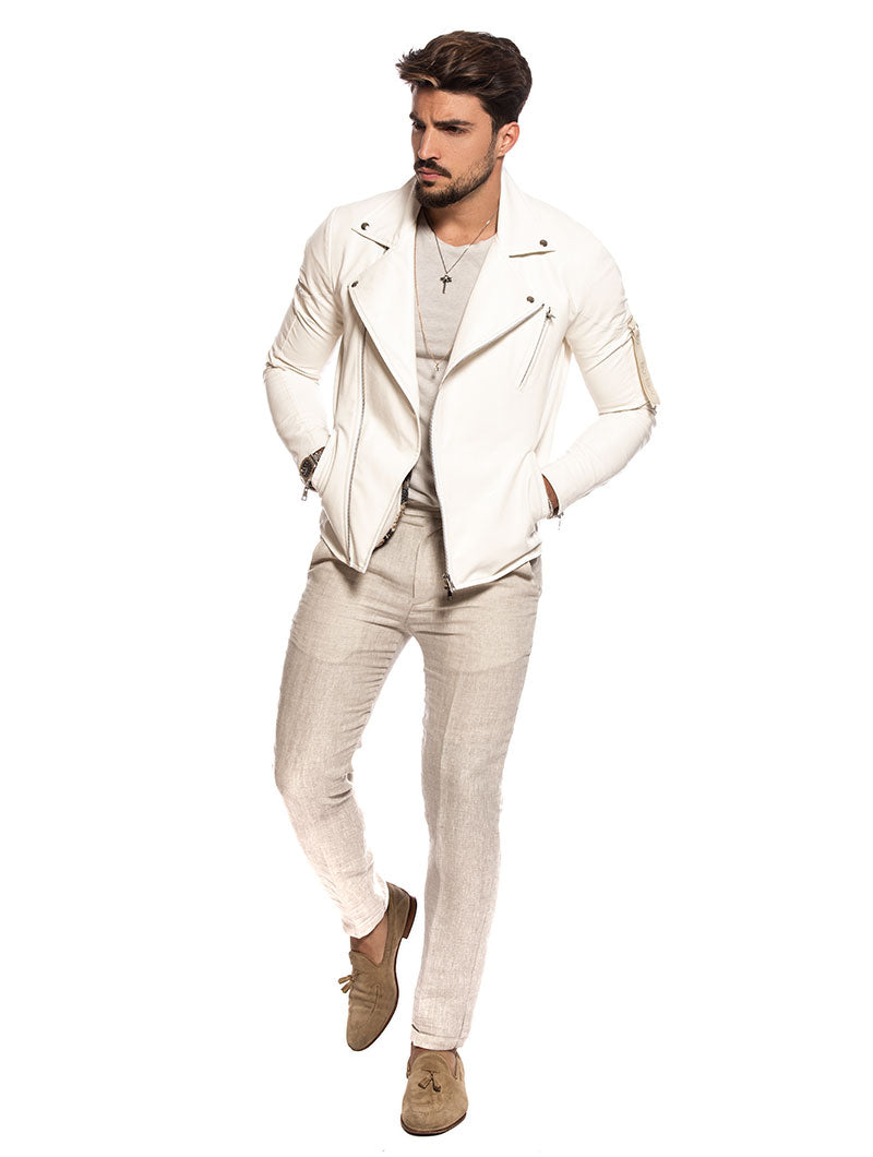 RICKY ECO-LEATHER JACKET IN WHITE