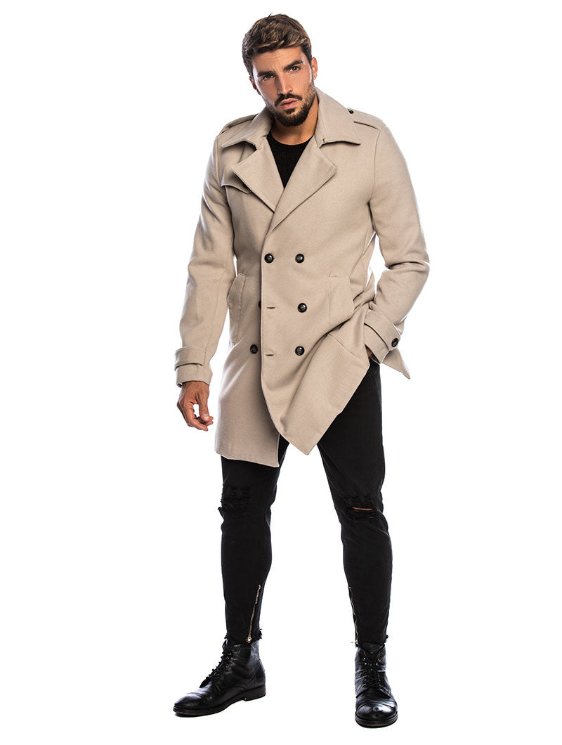 SEATTLE DOUBLE BREASTED COAT IN BEIGE