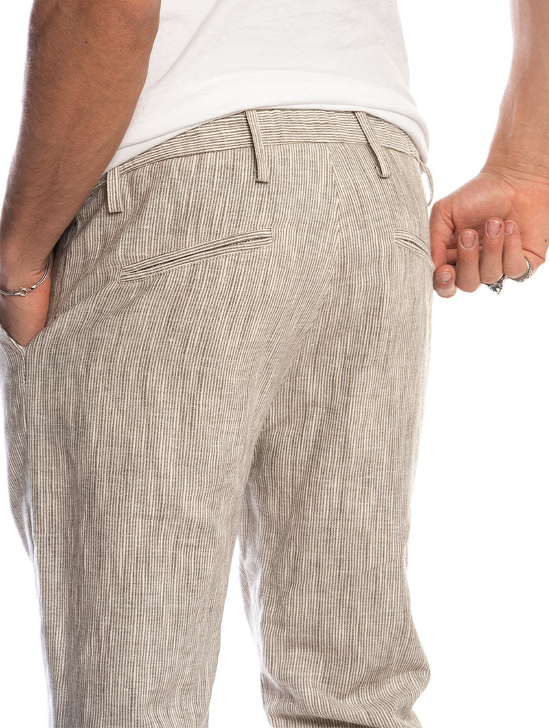 MAY LINEN PANTS IN STRIPED DOVE