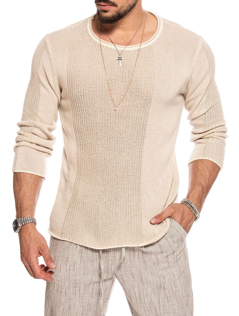 CURTIS CREWNECK SWEATER IN BEIGE