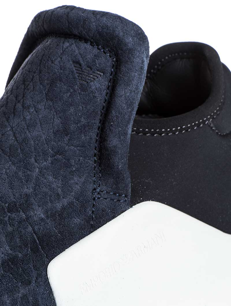 MEN'S SHOES | BLUE AND BLACK SNEAKERS | NIGHT BLUE | LEATHER | NEOPRENE | EMPORIO ARMANI