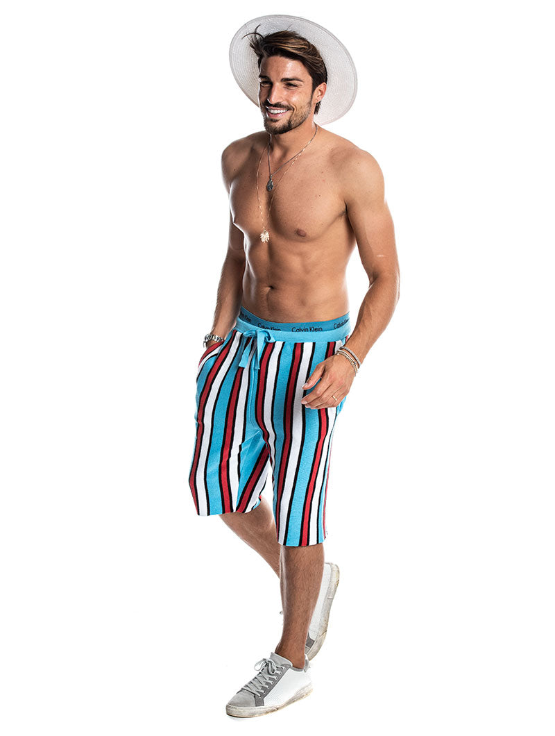 AMIN STRIPED SWEATSHORTS IN BLUE AND RED