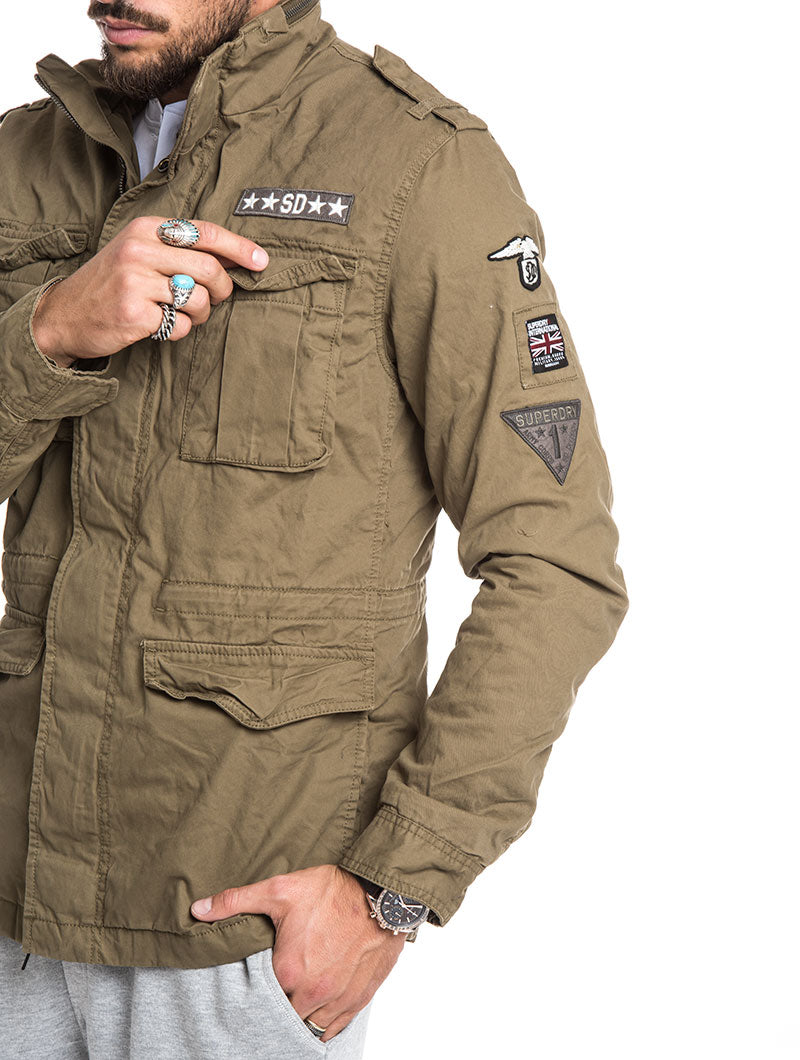GREEN MILITARY SUPERDRY DOWN JACKET