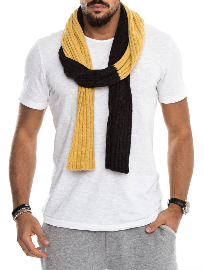 VELIA TWO-TONE RIBBED SCARF IN YELLOW AND GREY