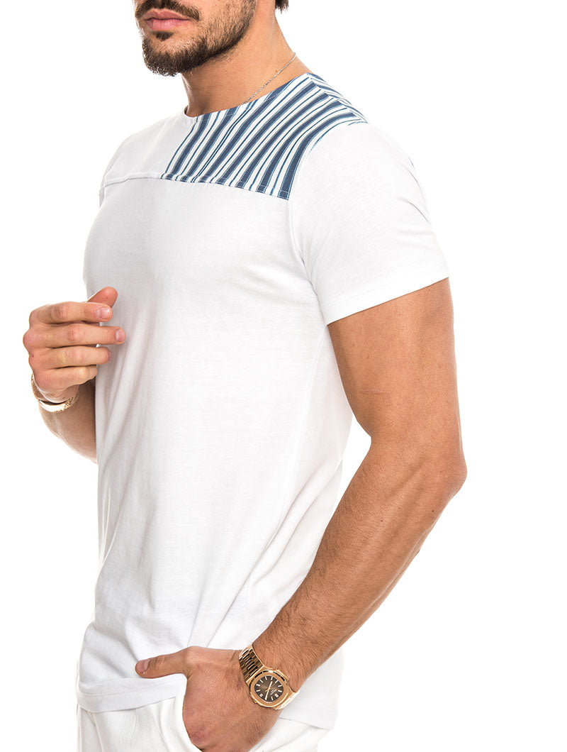 NILUS COTTON T-SHIRT IN STRIPED BLUE