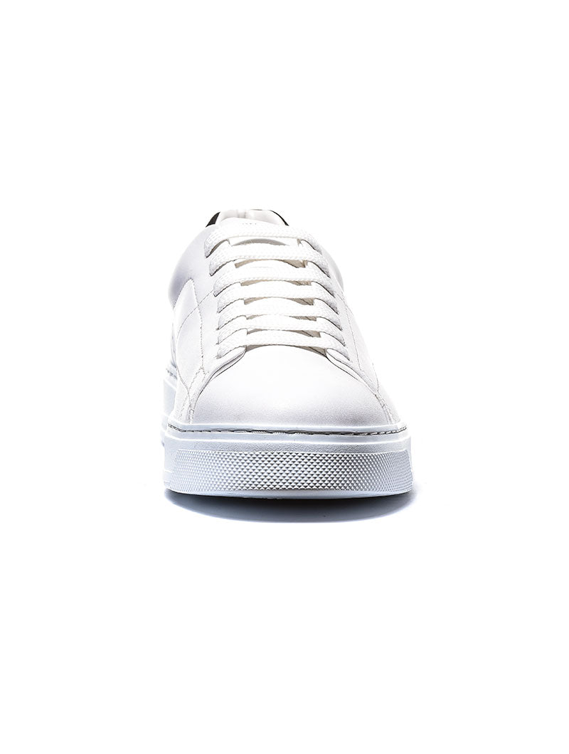 MAN LEATHER SNEAKERS IN OPTICAL WHITE-BLACK