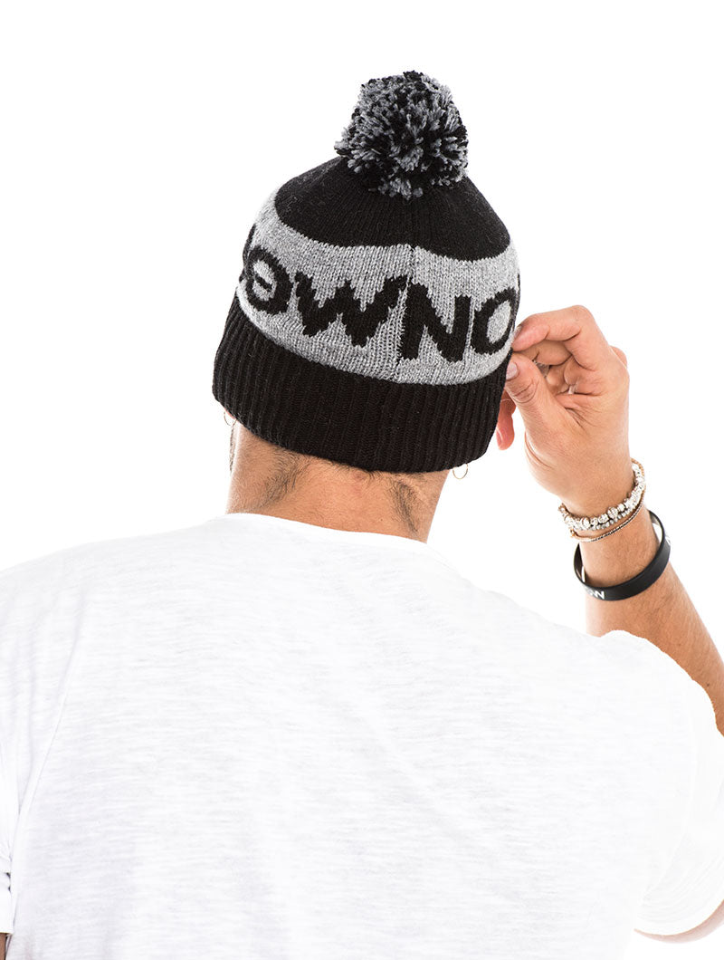 NOHOW BOBBLE BEANIE IN GREY AND BLACK