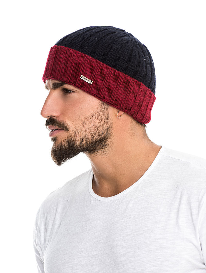 CALLISTO FISHERMAN BEANIE IN BLUE AND RED