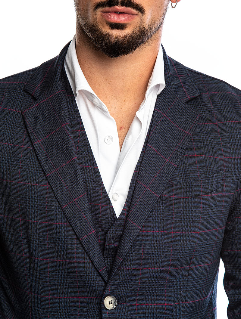ARTHUR GLEN PLAID BLAZER IN BLUE
