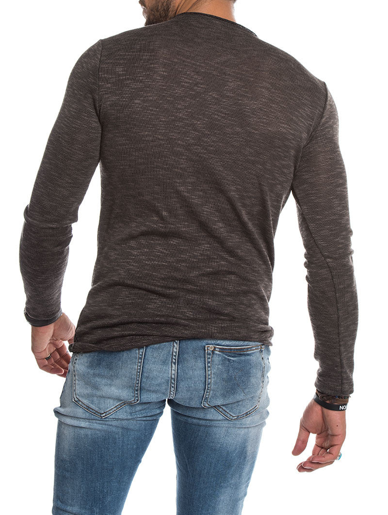 MEN'S CLOTHING | LONG-SLEEVED SWEATER IN MUD | CREW NECK | FINE KNIT | SKINNY FIT | NOHOW