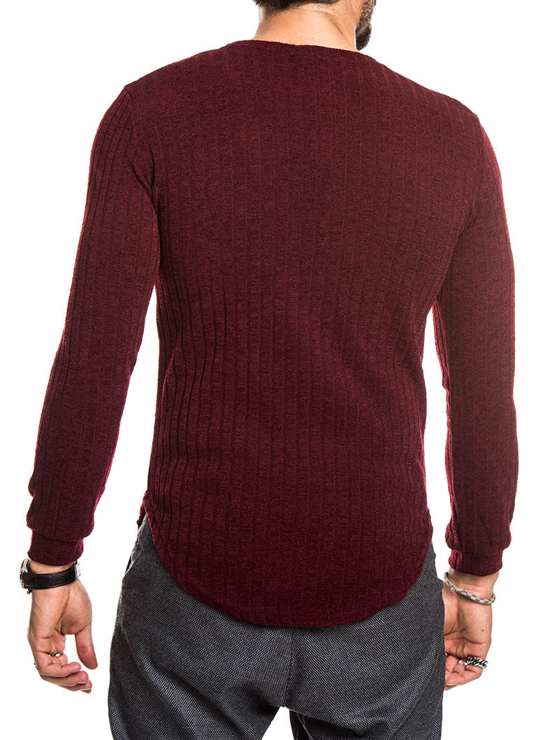 MEN'S CLOTHING | BORDEAUX LONG SLEEVED CREW NECK T-SHIRT | NOHOW