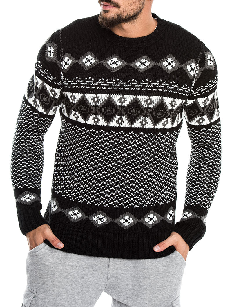 RAMSEY JACQUARD SWEATER IN BLACK AND WHITE