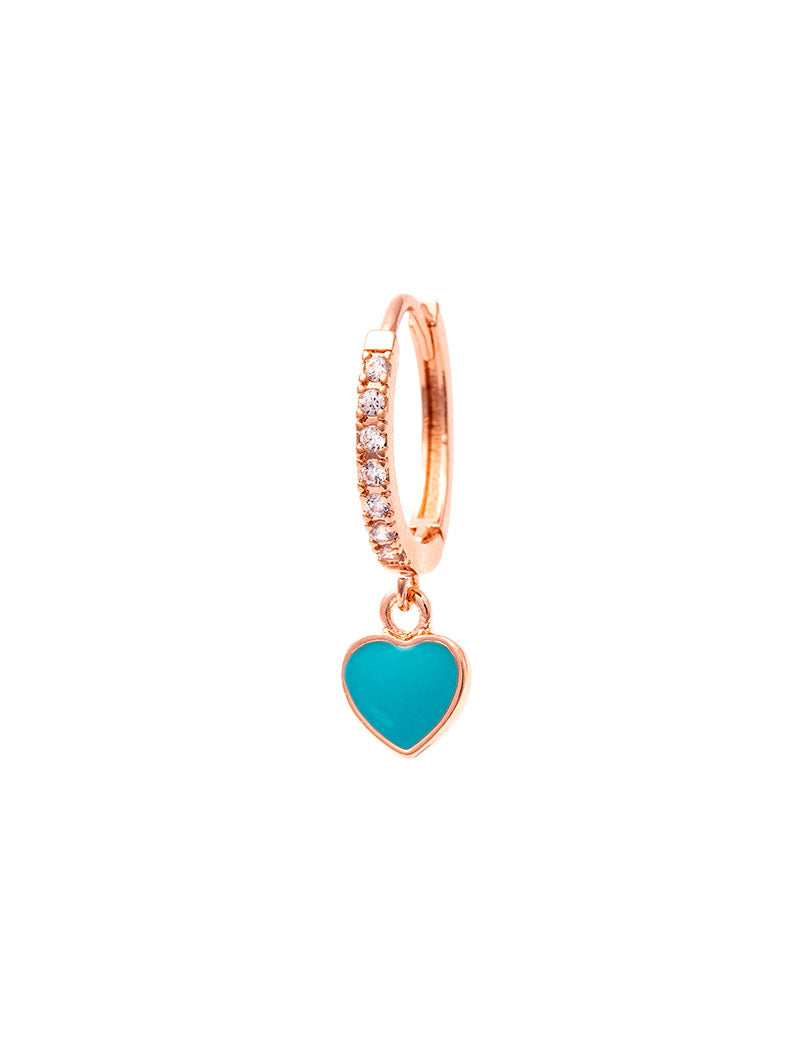 REBECCA EARRING IN ROSE GOLD WITH BLUE HEART PENDANT