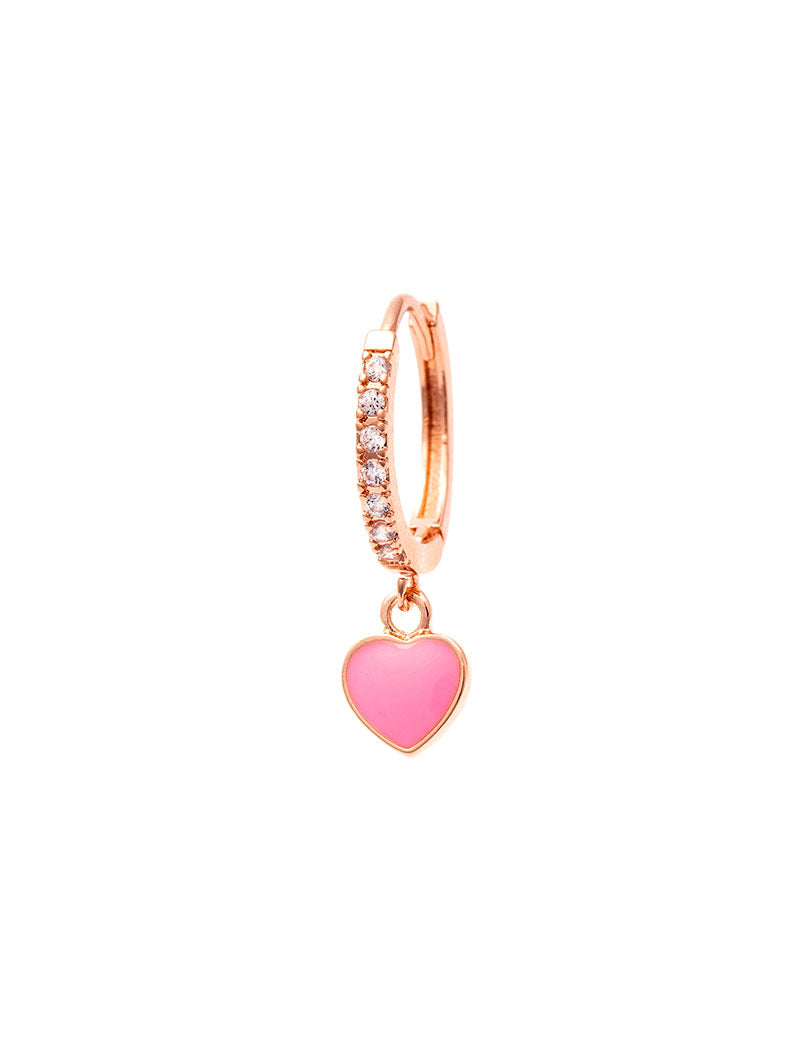 REBECCA EARRING IN ROSE GOLD WITH ROSE HEART PENDANT