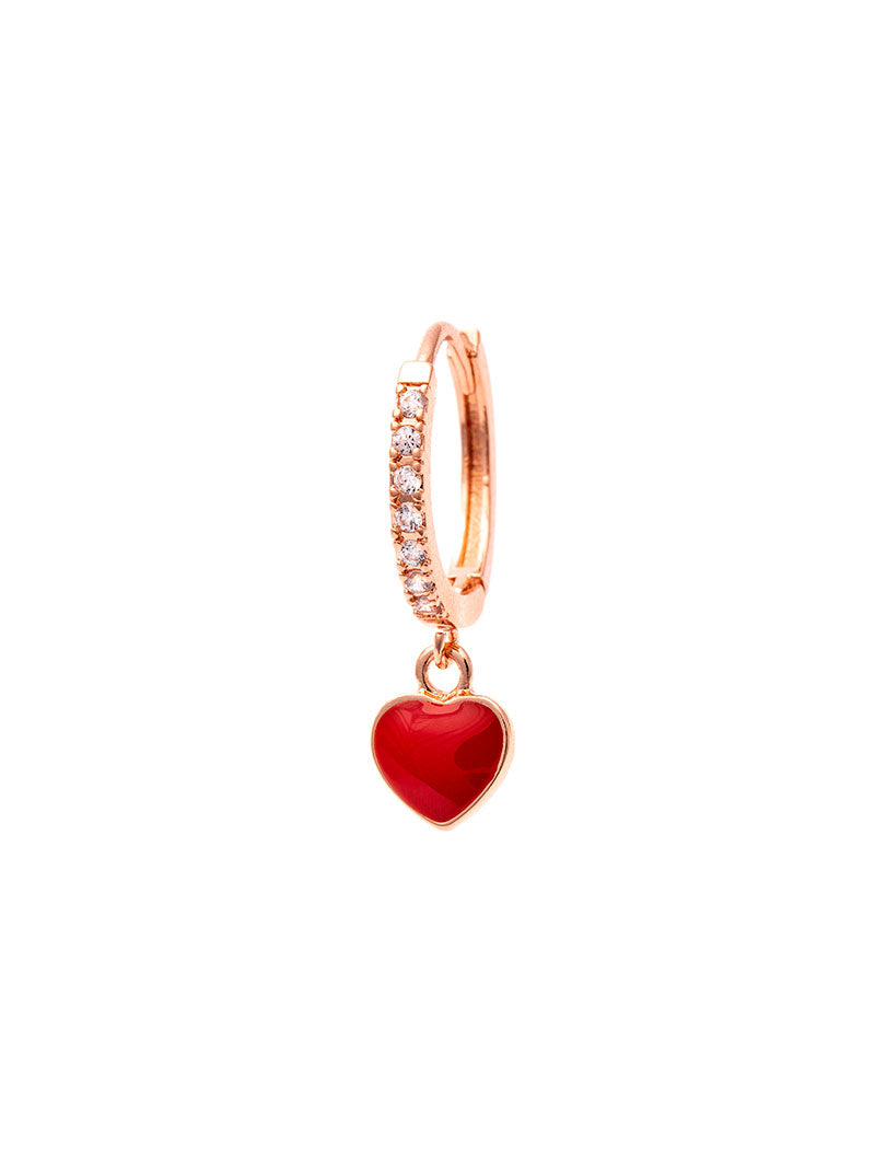 REBECCA EARRING IN ROSE GOLD WITH CHERRY HEART PENDANT