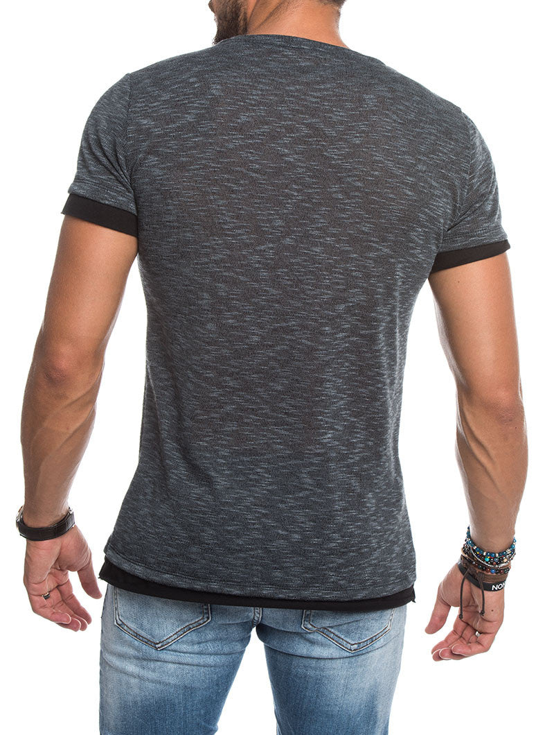 MEN'S CLOTHING | LAYERED NECK KNITTED T-SHIRT IN GREY | DOUBLE LAYERED TRIMS | SKINNY FIT | CREW NECK | NOHOW