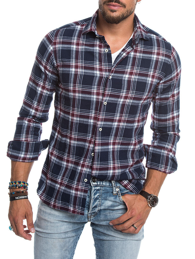 MEN'S CLOTHING | BLUE CHECKERED FLANNEL SHIRT | CHECK PATTERN | CHECKED SHIRT | BLUE | CUTAWAY COLLAR | SKINNY FIT | NOHOW