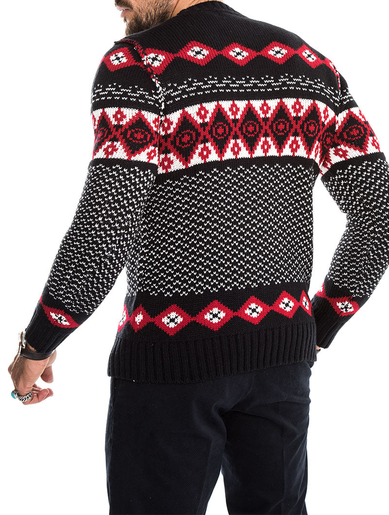 RAMSEY JACQUARD SWEATER IN BLUE AND RED