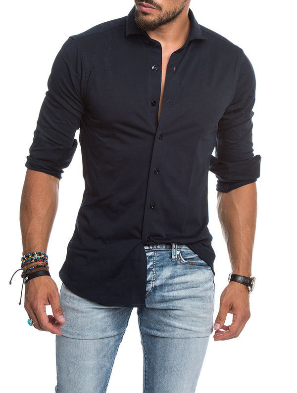 CASUAL JERSEY SHIRT IN NAVY 40e53f6ce2d
