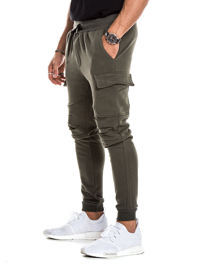 DOUBLE POCKET DISTRESSED PANTS IN GREEN