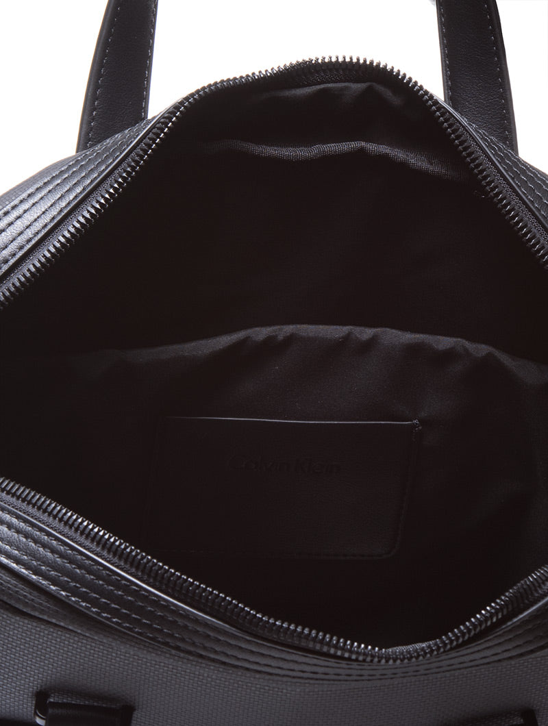 QUAD STITCH LAPTOP BAG SLIM IN BLACK