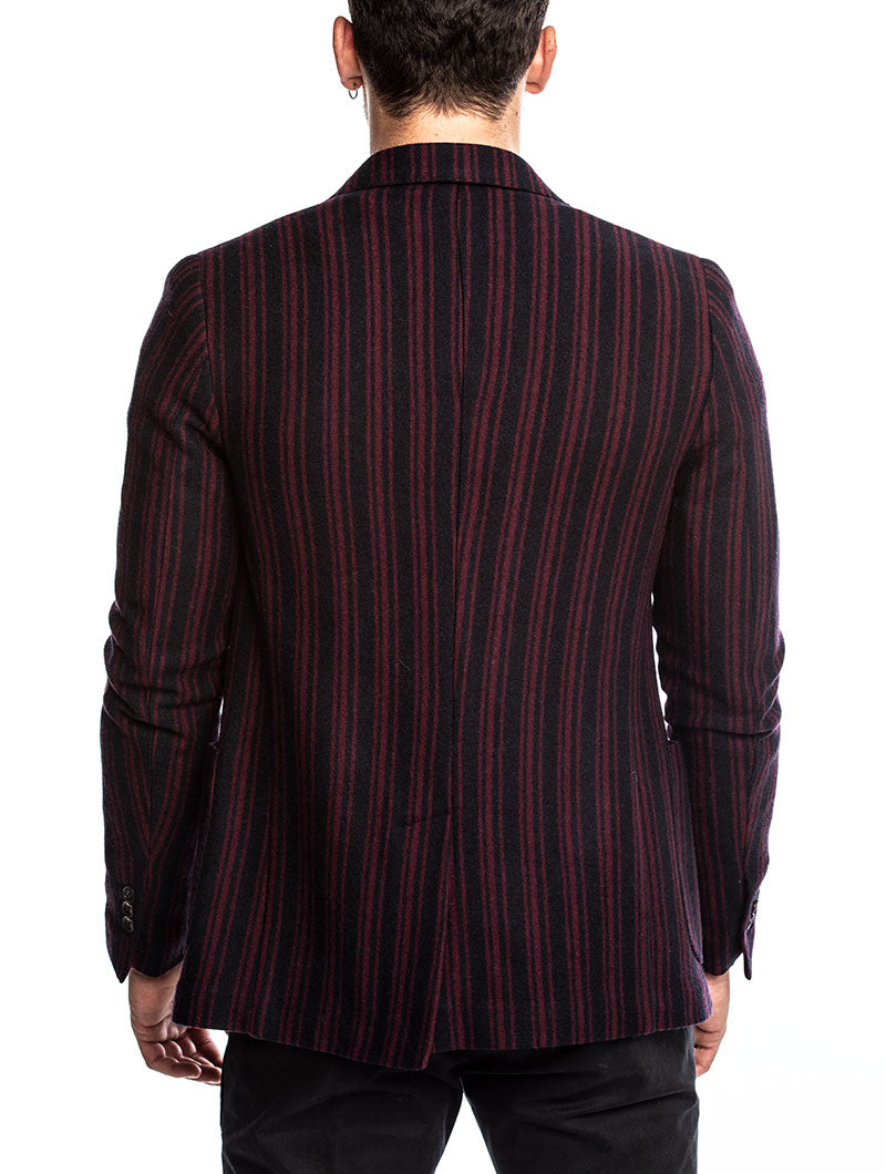 BARHAN SINGLE BREASTED BLAZER IN BLUE AND BORDEAUX