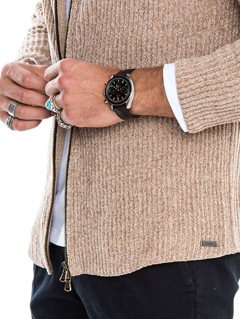 SAINT PAUL CHENILLE CARDIGAN IN CAMEL