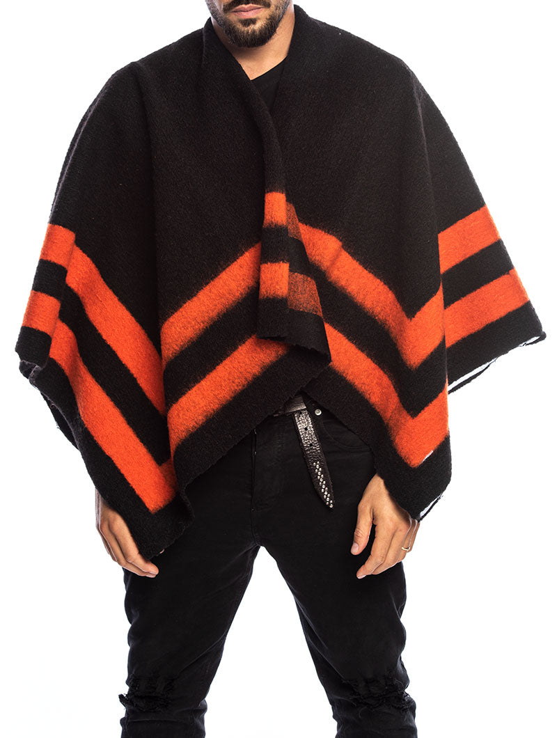 SIOUX PONCHO IN BLACK AND ORANGE