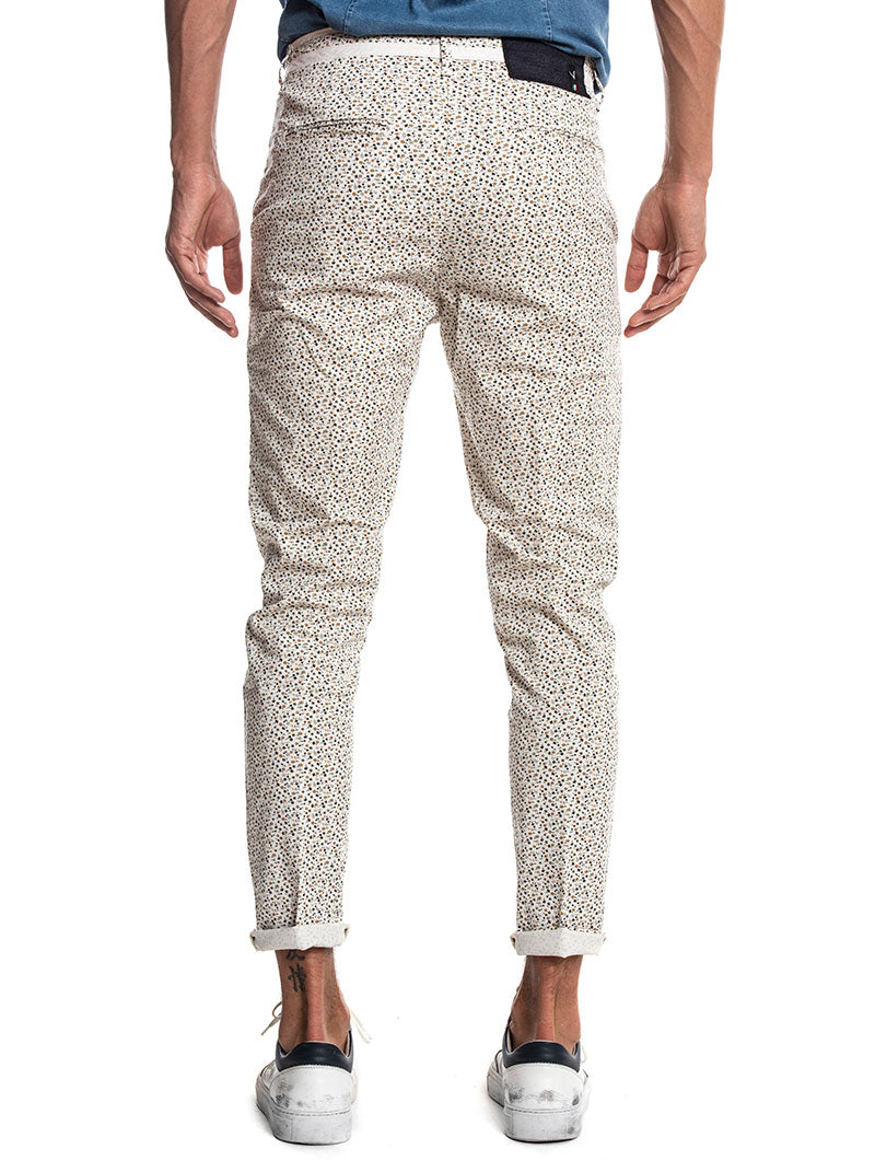 FLORAL CHINO TROUSERS IN WHITE